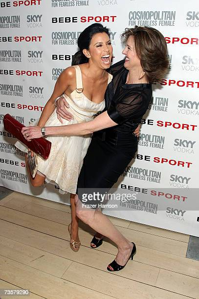 Actress Eva Longoria and Brenda Strong arrive at a party for Cosmopolitan and Bebe to celebrate Longoria as the New Face of Bebe Sport held at the...
