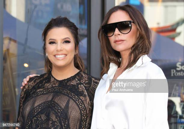 Actress Eva Longoria and Fashion Designer Victoria Beckham attend the ceremony to honor Eva Longoria with a Star on The Hollywood Walk Of Fame on...