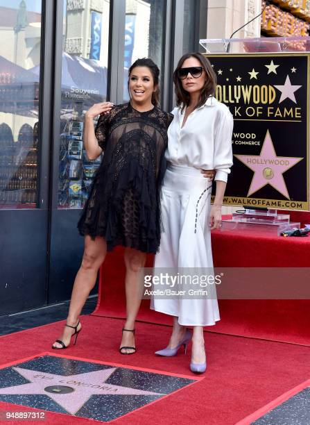 Actress Eva Longoria and fashion designer Victoria Beckham attend the ceremony honoring Eva Longoria with star on the Hollywood Walk of Fame on April...