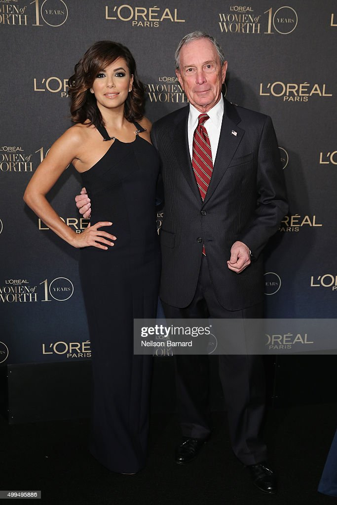 Actress Eva Longoria (L) and Former New York City Mayor Michael Bloomberg attend the L'Oreal Paris Women of Worth 2015 Celebration - Arrivals at The Pierre Hotel on December 1, 2015 in New York City.