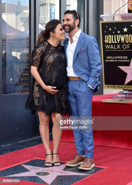 Actress Eva Longoria and Jose Baston attend the ceremony honoring Eva Longoria with star on the Hollywood Walk of Fame on April 16 2018 in Hollywood...