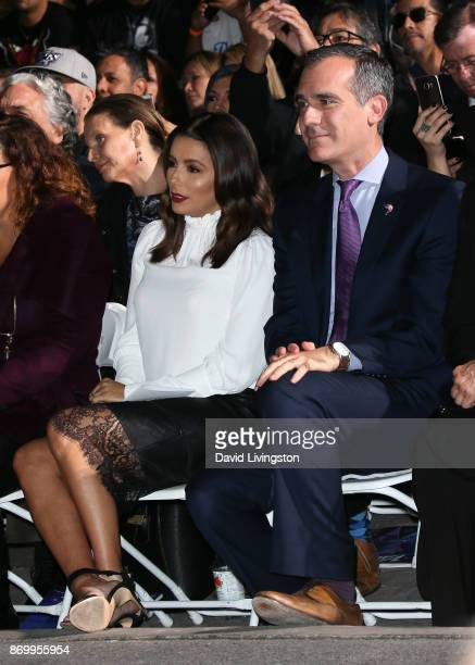 Actress Eva Longoria and LA Mayor Eric Garcetti attend singer Selena Quintanilla being honored posthumously with a Star on the Hollywood Walk of Fame...
