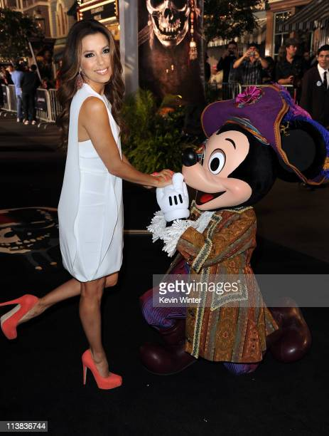 """Actress Eva Longoria and Mickey Mouse arrive at premiere of Walt Disney Pictures' """"Pirates of the Caribbean: On Stranger Tides"""" held at Disneyland on..."""