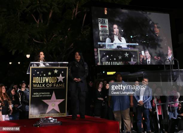 Actress Eva Longoria and Selena's sister Suzette Quintanilla attend singer Selena Quintanilla being honored posthumously with a Star on the Hollywood...