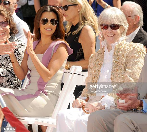 Actress Eva Longoria and Shirlee Fonda pose at Jane Fonda's hand and footprints ceremony at TCL Chinese Theatre on April 27 2013 in Hollywood...