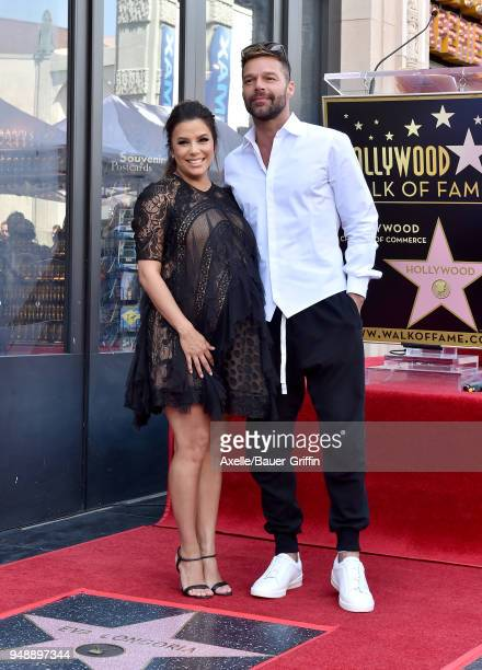 Actress Eva Longoria and singer/actor Ricky Martin attend the ceremony honoring Eva Longoria with star on the Hollywood Walk of Fame on April 16 2018...