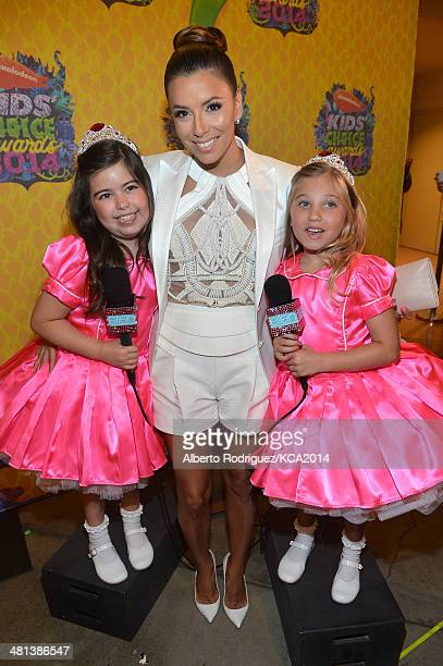 Actress Eva Longoria and TV personalities Sophia Grace Brownlee and Rosie Grace McClelland attend Nickelodeon's 27th Annual Kids' Choice Awards held...