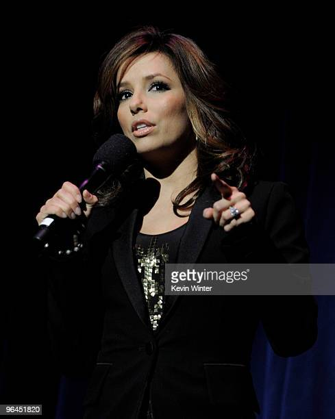 Actress Eva Longoria appears onstage at Help Haiti with George Lopez Friends at LA Live's Nokia Theater on February 4 2010 in Los Angeles California