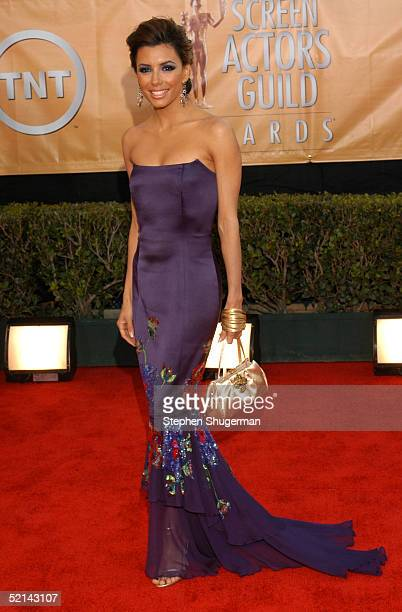 Actress Eva Longoria arrives at the 11th Annual Screen Actors Guild Awards at the Shrine Exposition Center on February 5, 2005 in Los Angeles,...
