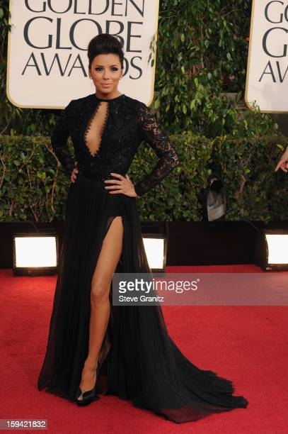 Actress Eva Longoria arrives at the 70th Annual Golden Globe Awards held at The Beverly Hilton Hotel on January 13 2013 in Beverly Hills California