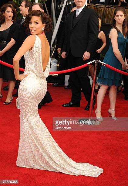 Actress Eva Longoria arrives to the 14th Annual Screen Actors Guild Awards at the Shrine Auditorium on January 27 2008 in Los Angeles California