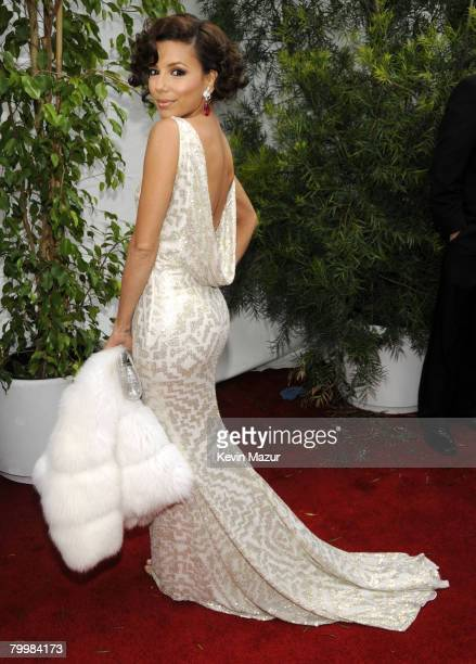 Actress Eva Longoria arrives to the TNT/TBS broadcast of the 14th Annual Screen Actors Guild Awards at the Shrine Auditorium on January 27 2008 in...