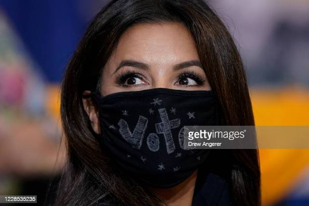 Actress Eva Longoria attends a Hispanic heritage event with Democratic presidential nominee and former Vice President Joe Biden at Osceola Heritage...