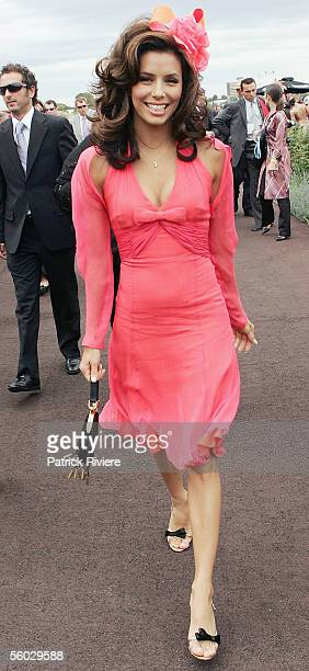 Actress Eva Longoria attends Fashions on the Field at the 2005 Derby Day at Flemington Racecourse October 29 2005 in Melbourne Australia