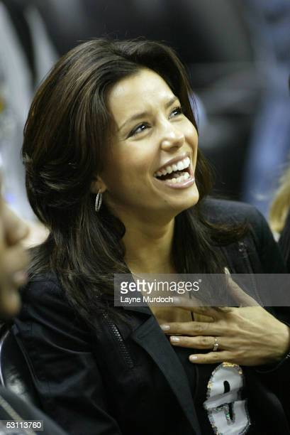 Actress Eva Longoria attends Game Six of the 2005 NBA Finals between the Detroit PIstons and the San Antonio Spurs June 21 2005 at SBC Center in San...