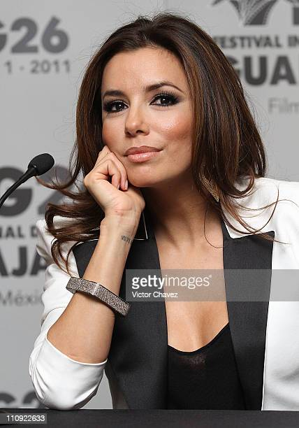 Actress Eva Longoria attends the press conference of the 'The Harvest' at the 26th Edition of the Guadalajara International Film Festival on March 26...