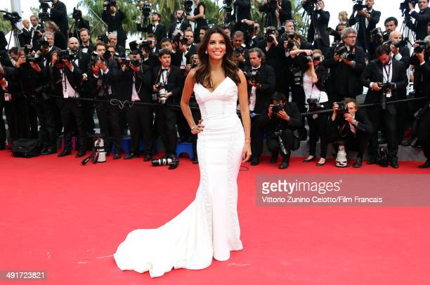 """Actress Eva Longoria attends the """"Saint Laurent"""" Premiere at the 67th Annual Cannes Film Festival on May 17, 2014 in Cannes, France."""