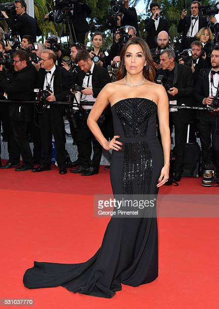 Actress Eva Longoria attends the screening of 'Money Monster' at the annual 69th Cannes Film Festival at Palais des Festivals on May 12 2016 in...