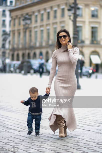 Actress Eva Longoria Baston and her son Santiago Baston are seen on Place Vendome on September 25, 2019 in Paris, France.