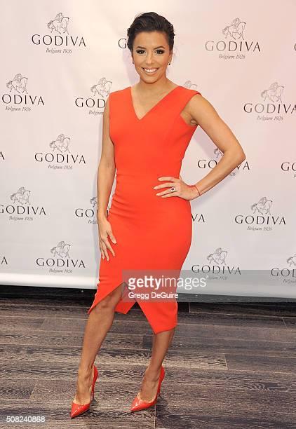 Actress Eva Longoria celebrates Valentine's Day with Godiva at Godiva Chocolatier on February 3 2016 in Glendale California