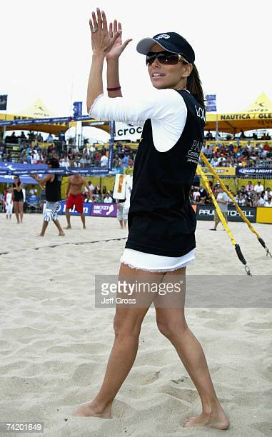"""Actress Eva Longoria cheers during the """"Spike for Hope"""" Celebrity Charity Beach Volleyball Tournament at the Hermosa Beach Pier on May 20, 2007 in..."""
