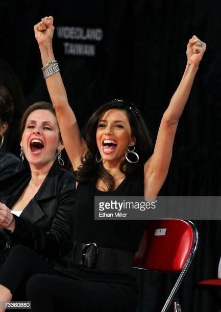 Actress Eva Longoria cheers on fiance and NBA player Tony Parker at NBA AllStar Saturday Night at Thomas Mack Center February 17 2007 in Las Vegas...