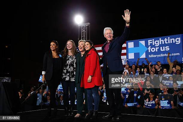 Actress Eva Longoria Chelsea Clinton Democratic presidential candidate former Secretary of State Hillary Clinton actress America Ferrera and former...