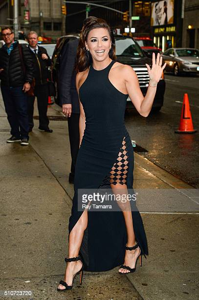 Actress Eva Longoria enters The Late Show with Stephen Colbert at the Ed Sullivan Theater on February 16 2016 in New York City