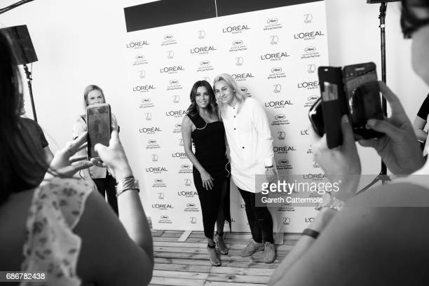 Actress Eva Longoria meets with fans in the L'Oreal Paris beach on May 21 2017 in Cannes France