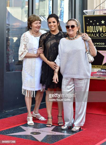 Actress Eva Longoria mom Ella Eva Mireles and guest attend the ceremony honoring Eva Longoria with star on the Hollywood Walk of Fame on April 16...