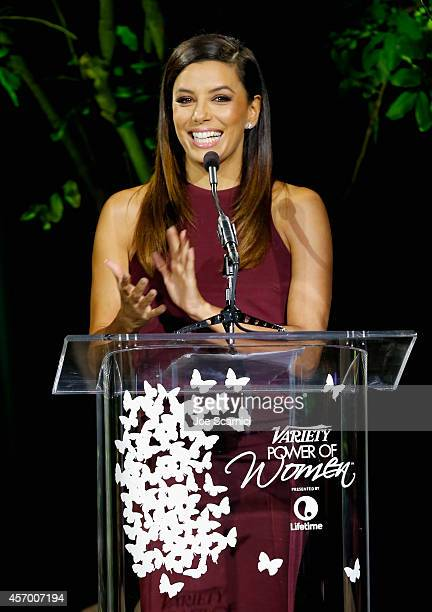 Actress Eva Longoria onstage at 2014 Variety Power of Women presented by Lifetime at Beverly Wilshire Four Seasons on October 10 2014 in Los Angeles...
