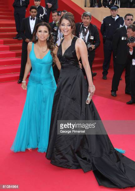 """Actress Eva Longoria Parker and Actress Aishwarya Rai arrive at the """"Blindness"""" premiere during the 61st Cannes International Film Festival on May..."""
