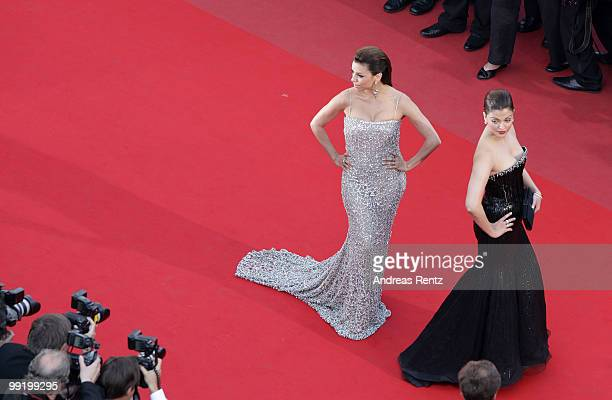 Actress Eva Longoria Parker and Aishwarya Rai Bachchan attend the 'On Tour' Premiere at the Palais des Festivals during the 63rd Annual Cannes Film...