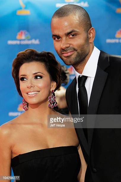 Actress Eva Longoria Parker and athlete Tony Parker arrive at the 62nd Annual Primetime Emmy Awards held at the Nokia Theatre LA Live on August 29...