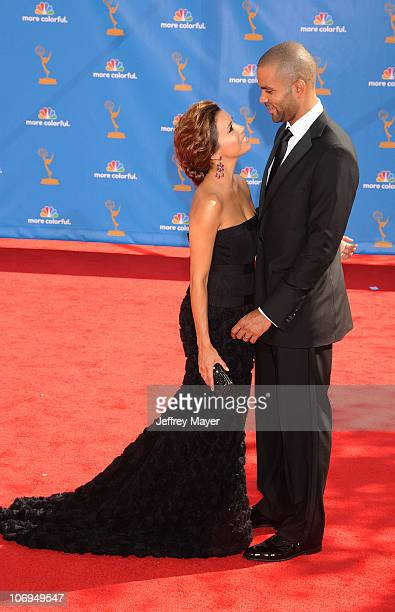 Actress Eva Longoria Parker and husband NBA Player Tony Parker arrive at the 62nd Annual Primetime EMMY Awards at Nokia Theatre LA Live on August 29...