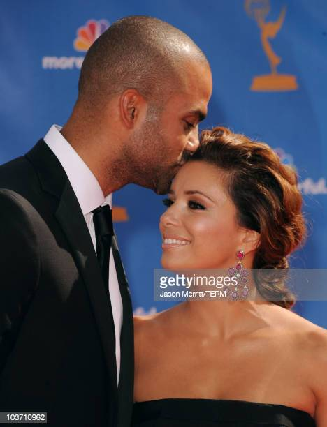 Actress Eva Longoria Parker and husband Tony Parker arrive at the 62nd Annual Primetime Emmy Awards held at the Nokia Theatre LA Live on August 29...