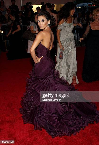 Actress Eva Longoria Parker arrives at the Metropolitan Museum of Art Costume Institute Gala, Superheroes: Fashion and Fantasy, held at the...