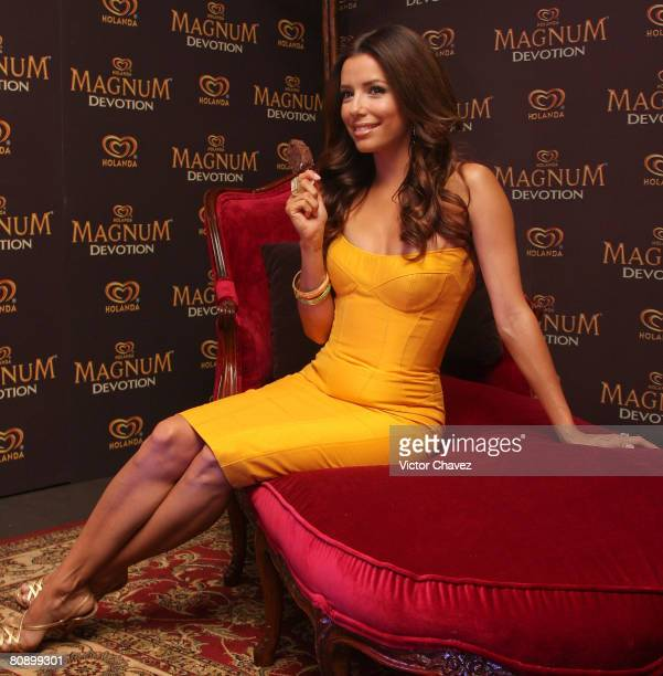 Actress Eva Longoria Parker attends a press conference and photocall to promote Holanda`s Magnum Devotion Ice Cream at Hotel Four Seasons on April...