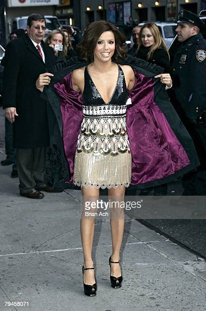 Actress Eva Longoria Parker visits Late Show with David Letterman at the Ed Sullivan Theatreat on January 31 2008 in New York City