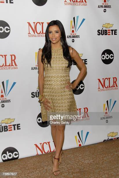 Actress Eva Longoria poses at the announcement of the 2007 ALMA Award nominees at the Beverly Hilton Hotel on April 16 2007 in Los Angeles California