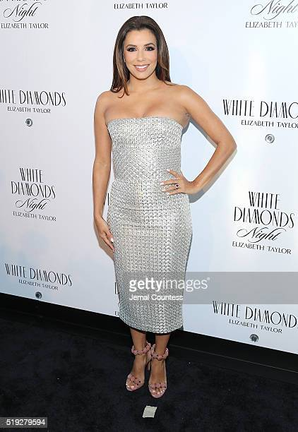 Actress Eva Longoria poses for a photo at the Elizabeth Taylor White Diamonds 25th Anniversary Celebration at The Glasshouses on April 5 2016 in New...