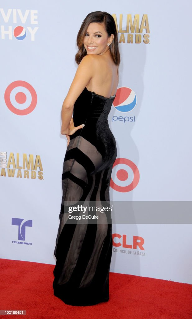 Actress Eva Longoria poses in the press room at the 2012 NCLR ALMA Awards at Pasadena Civic Auditorium on September 16, 2012 in Pasadena, California.