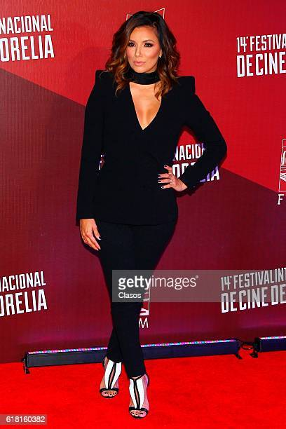 Actress Eva Longoria poses on the red carpet of the movie 'Un cuento de Circo and a Love Song' during the Morelia International Film Festival on...
