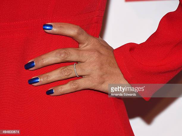 Actress Eva Longoria ring and manicure detail arrives at the International Women's Media Foundation Courage Awards at the Beverly Wilshire Four...
