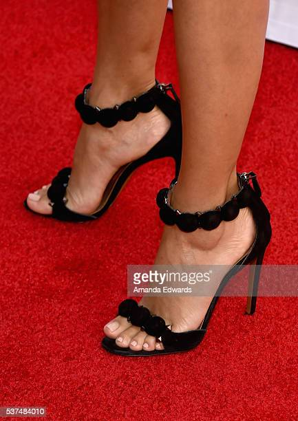Actress Eva Longoria shoe and pedicure details attends the premiere of 'Lowriders' during opening night of the 2016 Los Angeles Film Festival at...