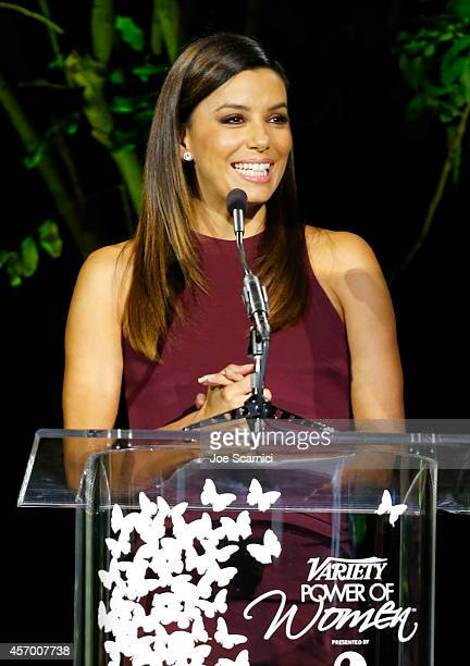 Actress Eva Longoria speaks onstage at 2014 Variety Power of Women presented by Lifetime at Beverly Wilshire Four Seasons on October 10 2014 in Los...