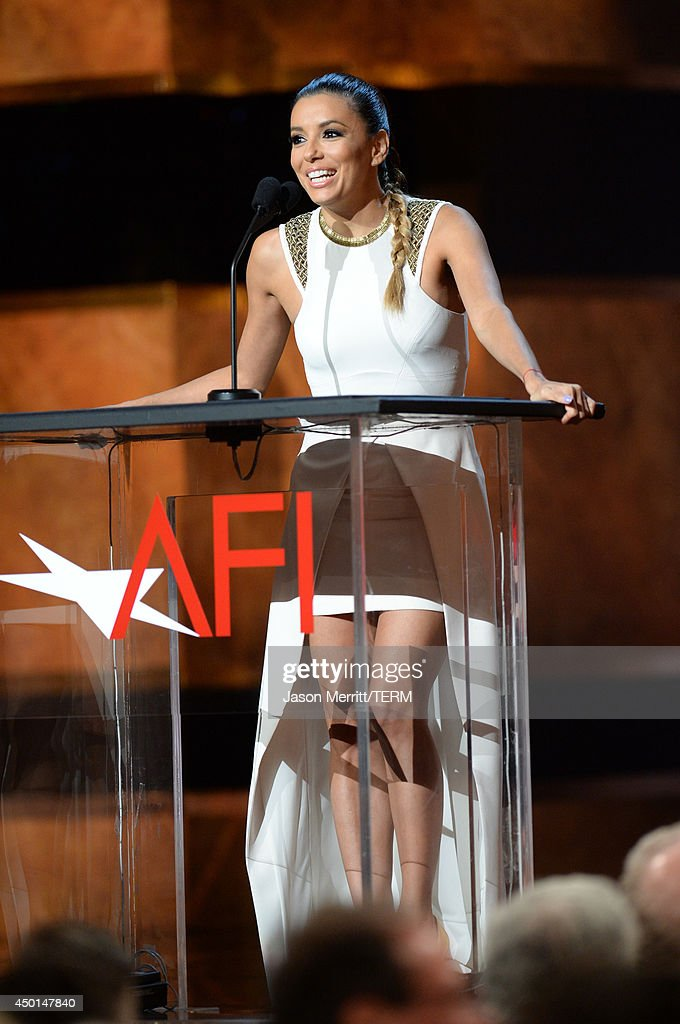 Actress Eva Longoria speaks onstage during the 2014 AFI Life Achievement Award: A Tribute to Jane Fonda at the Dolby Theatre on June 5, 2014 in Hollywood, California. Tribute show airing Saturday, June 14, 2014 at 9pm ET/PT on TNT.
