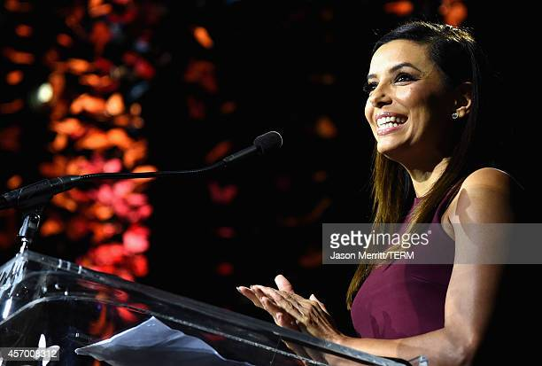 Actress Eva Longoria speaks onstage during the 2014 Variety Power of Women presented by Lifetime at Beverly Wilshire Four Seasons on October 10 2014...