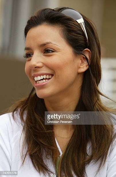 """Actress Eva Longoria speaks with the media at the """"Spike for Hope"""" Celebrity Charity Beach Volleyball Tournament at the Hermosa Beach Pier May 20,..."""