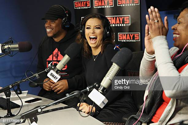 Actress Eva Longoria visits 'Sway in the Morning' with Sway Calloway and Heather B on Eminem's Shade 45 at the SiriusXM Studios on February 18 2016...